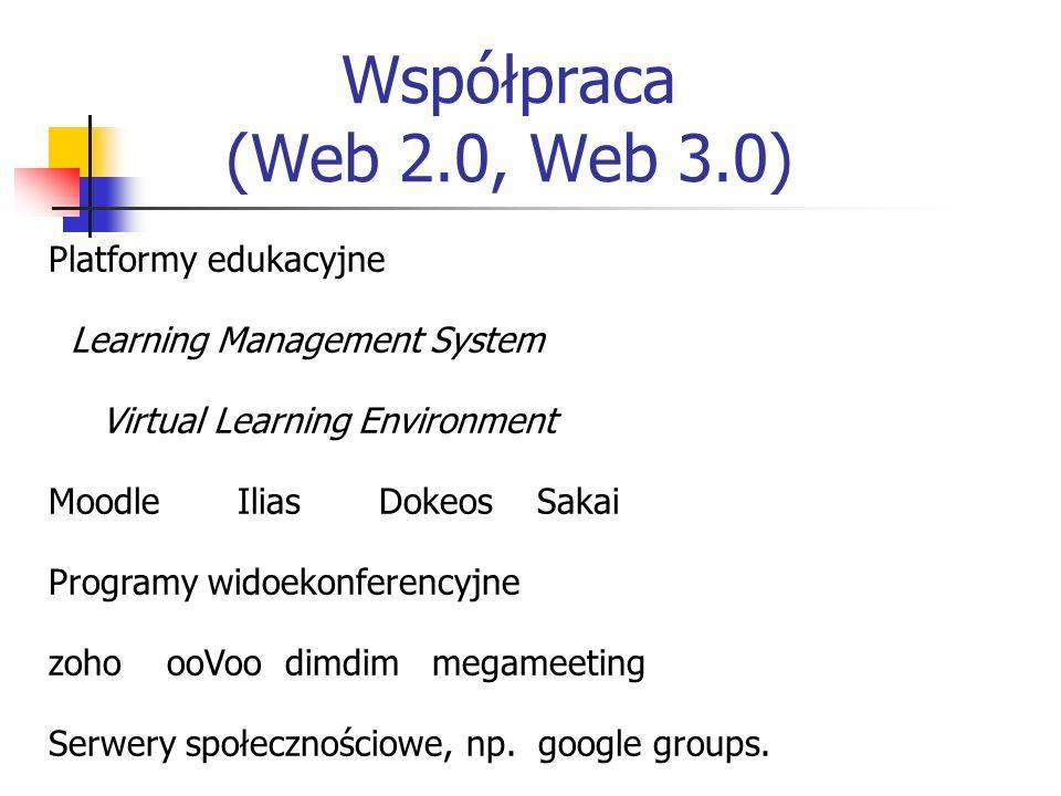 Współpraca (Web 2.0, Web 3.0) Platformy edukacyjne Learning Management System Virtual Learning Environment Moodle Ilias Dokeos Sakai Programy widoekonferencyjne zoho ooVoo dimdim megameeting Serwery społecznościowe, np.