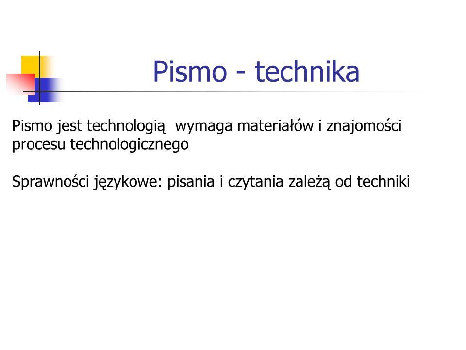 Pismo - technika Pismo jest technologią wymaga materiałów i znajomości procesu technologicznego Sprawności językowe: pisania i czytania zależą od techniki