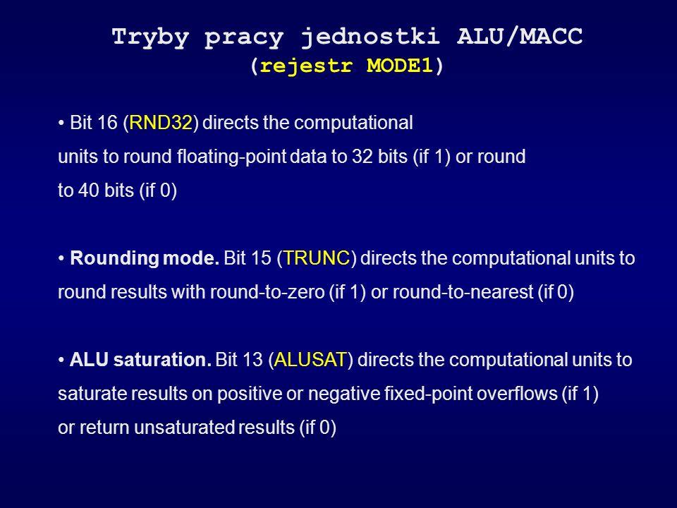 Tryby pracy jednostki ALU/MACC (rejestr MODE1) Bit 16 (RND32) directs the computational units to round floating-point data to 32 bits (if 1) or round