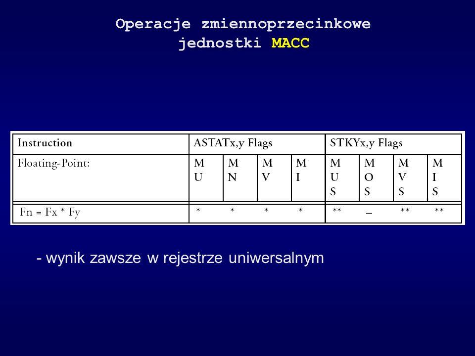 Operacje zmiennoprzecinkowe jednostki MACC - wynik zawsze w rejestrze uniwersalnym