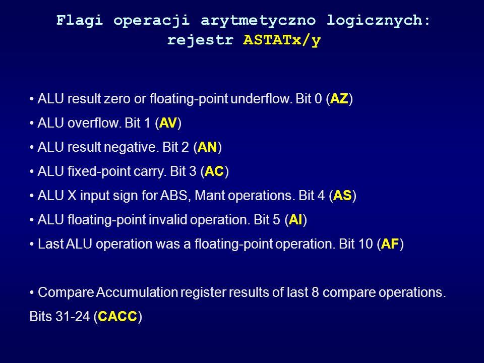 Flagi operacji arytmetyczno logicznych: rejestr ASTATx/y ALU result zero or floating-point underflow. Bit 0 (AZ) ALU overflow. Bit 1 (AV) ALU result n