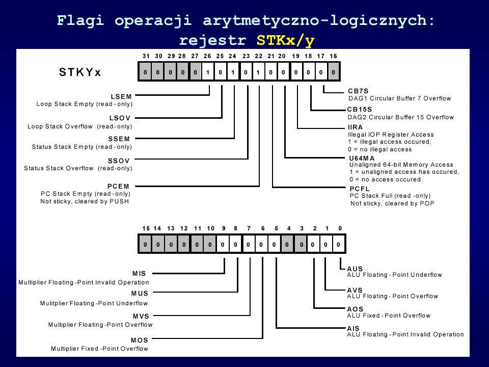 Flagi operacji arytmetyczno-logicznych: rejestr STKx/y