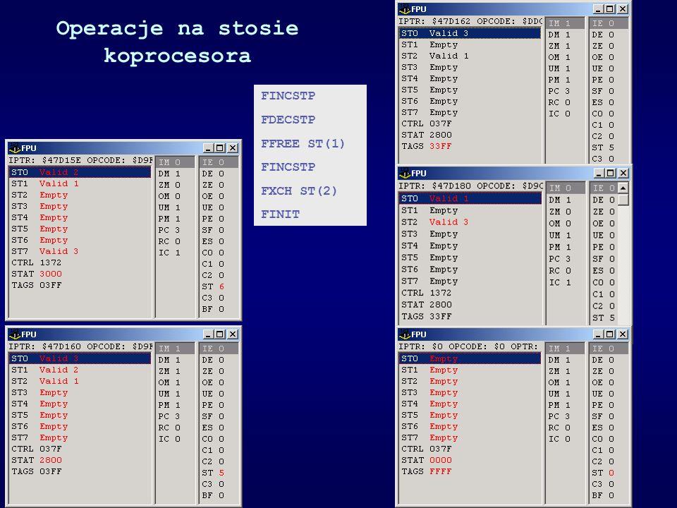 Operacje na stosie koprocesora FINCSTP FDECSTP FFREE ST(1) FINCSTP FXCH ST(2) FINIT
