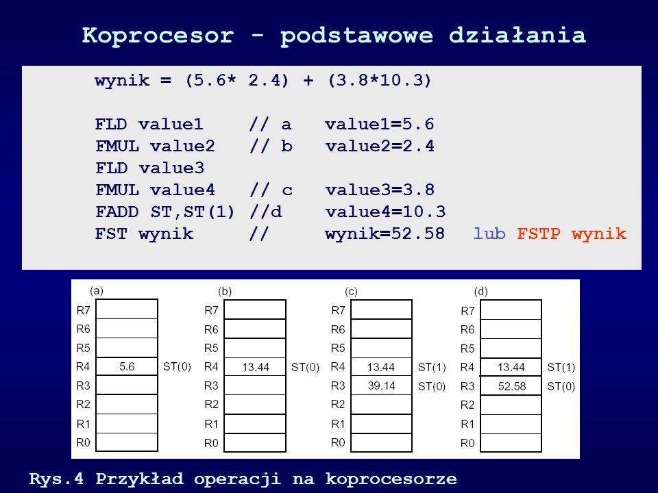 Koprocesor - podstawowe działania Rys.4 Przykład operacji na koprocesorze wynik = (5.6* 2.4) + (3.8*10.3) FLD value1 // a value1=5.6 FMUL value2 // b