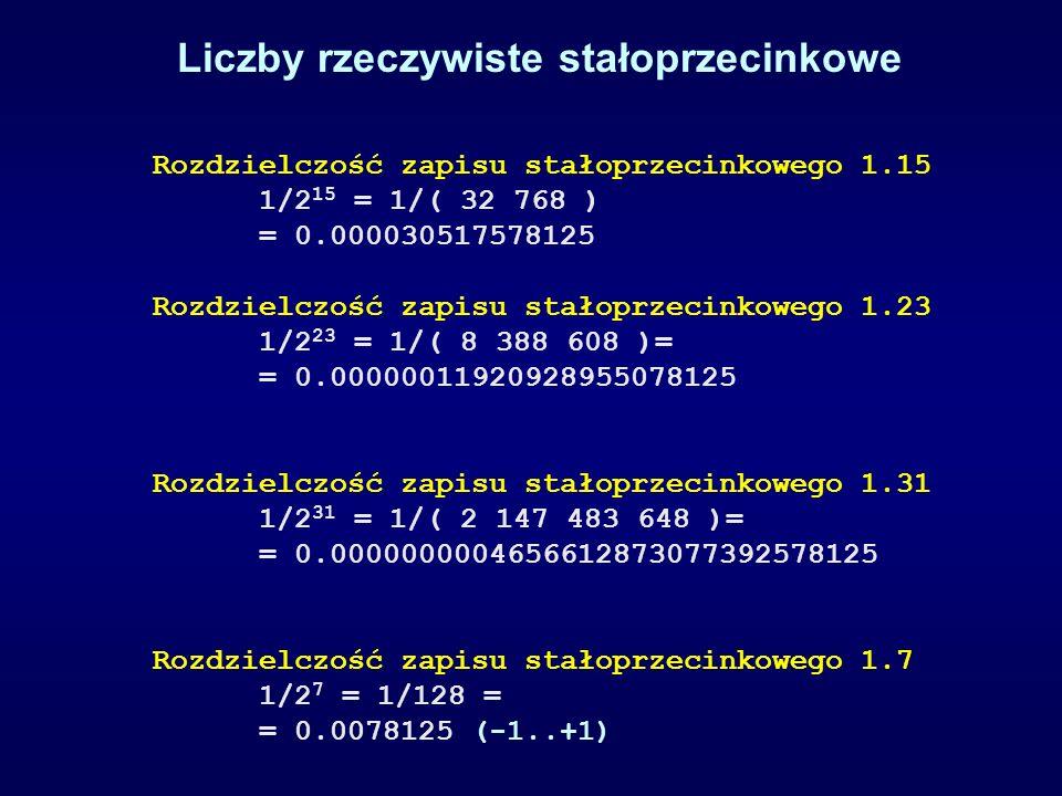Rozdzielczość zapisu stałoprzecinkowego 1.15 1/2 15 = 1/( 32 768 ) = 0.000030517578125 Rozdzielczość zapisu stałoprzecinkowego 1.23 1/2 23 = 1/( 8 388