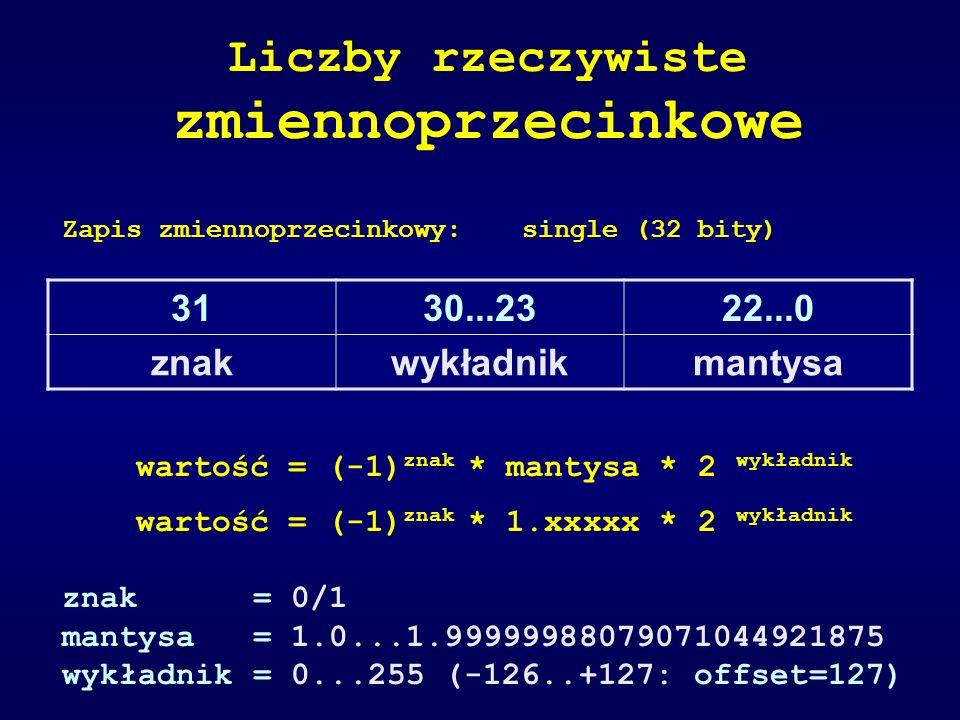 Zapis zmiennoprzecinkowy:single (32 bity) Liczby rzeczywiste zmiennoprzecinkowe wartość = (-1) znak * mantysa * 2 wykładnik wartość = (-1) znak * 1.xx