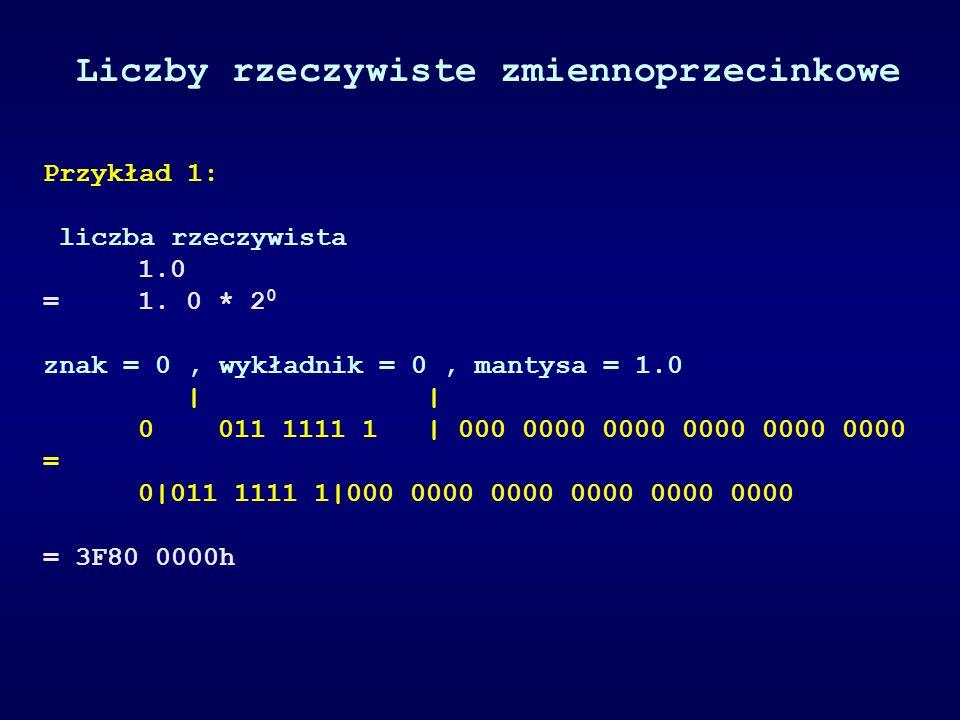 Przykład 1: liczba rzeczywista 1.0 =1. 0 * 2 0 znak = 0, wykładnik = 0, mantysa = 1.0 | | 0 011 1111 1 | 000 0000 0000 0000 0000 0000 = 0|011 1111 1|0