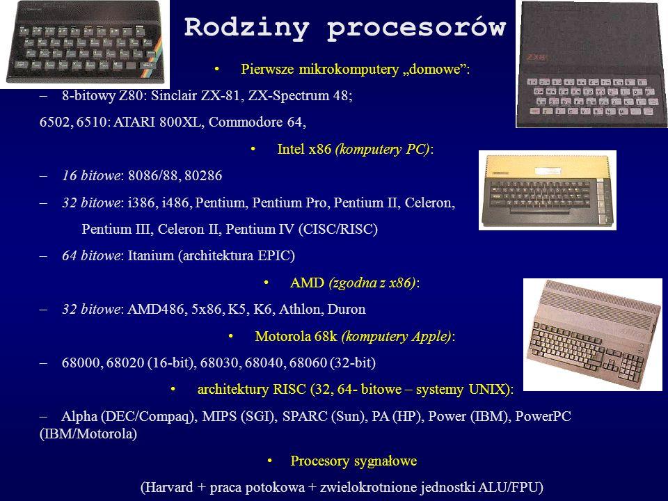 Rodziny procesorów Pierwsze mikrokomputery domowe: – 8-bitowy Z80: Sinclair ZX-81, ZX-Spectrum 48; 6502, 6510: ATARI 800XL, Commodore 64, Intel x86 (k