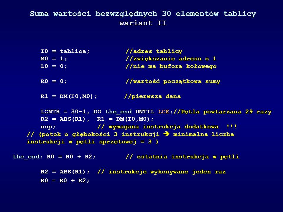 Suma wartości bezwzględnych 30 elementów tablicy wariant II I0 = tablica; //adres tablicy M0 = 1; //zwiększanie adresu o 1 L0 = 0; //nie ma bufora koł