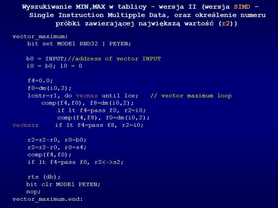 Wyszukiwanie MIN,MAX w tablicy - wersja II (wersja SIMD – Single Instruction Multipple Data, oraz określenie numeru próbki zawierającej największą war