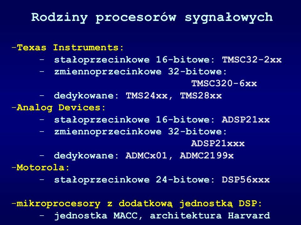 Rodziny procesorów sygnałowych -Texas Instruments: -stałoprzecinkowe 16-bitowe: TMSC32-2xx -zmiennoprzecinkowe 32-bitowe: TMSC320-6xx -dedykowane: TMS24xx, TMS28xx -Analog Devices: -stałoprzecinkowe 16-bitowe: ADSP21xx -zmiennoprzecinkowe 32-bitowe: ADSP21xxx -dedykowane: ADMCx01, ADMC2199x -Motorola: -stałoprzecinkowe 24-bitowe: DSP56xxx -mikroprocesory z dodatkową jednostką DSP: -jednostka MACC, architektura Harvard