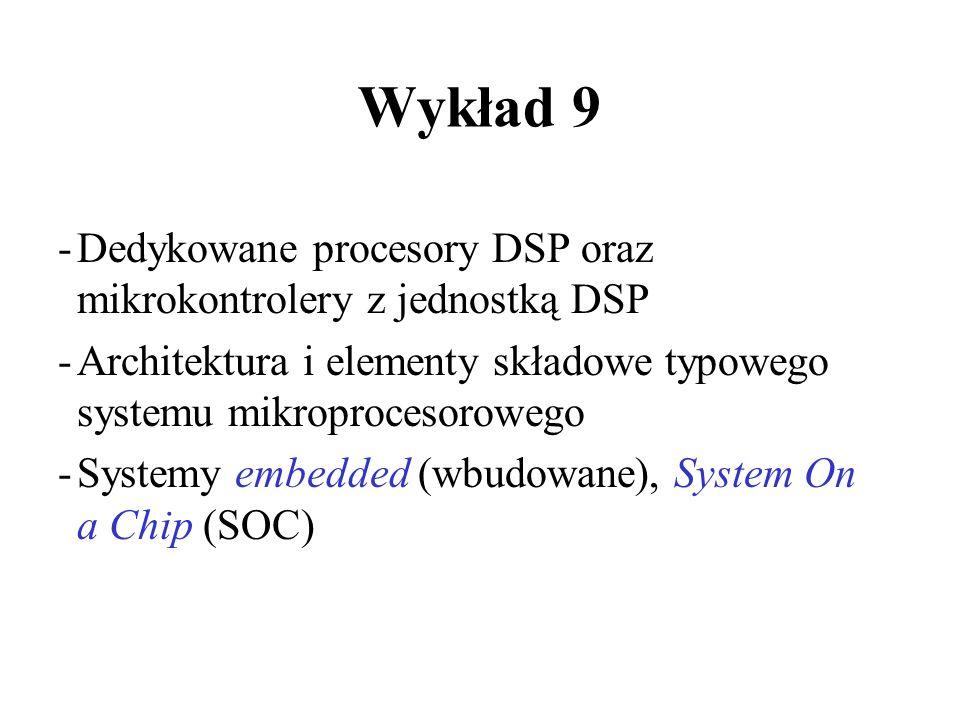 -Dedykowane procesory DSP oraz mikrokontrolery z jednostką DSP -Architektura i elementy składowe typowego systemu mikroprocesorowego -Systemy embedded (wbudowane), System On a Chip (SOC) Wykład 9