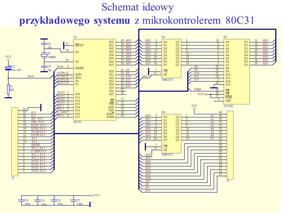 Schemat ideowy przykładowego systemu z mikrokontrolerem 80C31