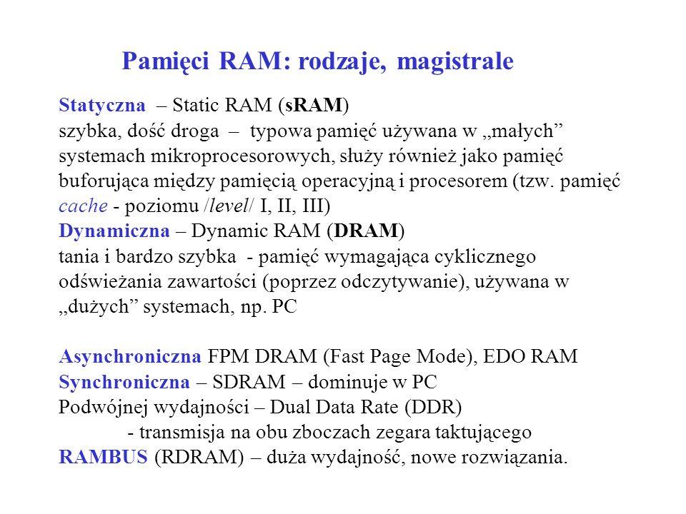 Statyczna – Static RAM (sRAM) szybka, dość droga – typowa pamięć używana w małych systemach mikroprocesorowych, służy również jako pamięć buforująca między pamięcią operacyjną i procesorem (tzw.