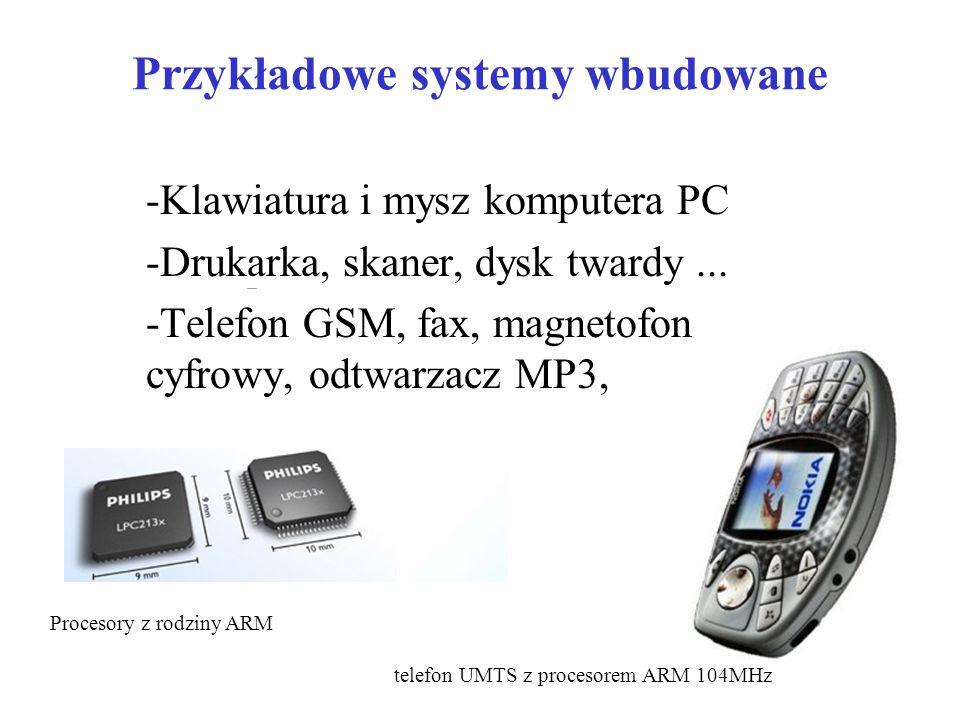 Przykładowe systemy wbudowane -Klawiatura i mysz komputera PC -Drukarka, skaner, dysk twardy...