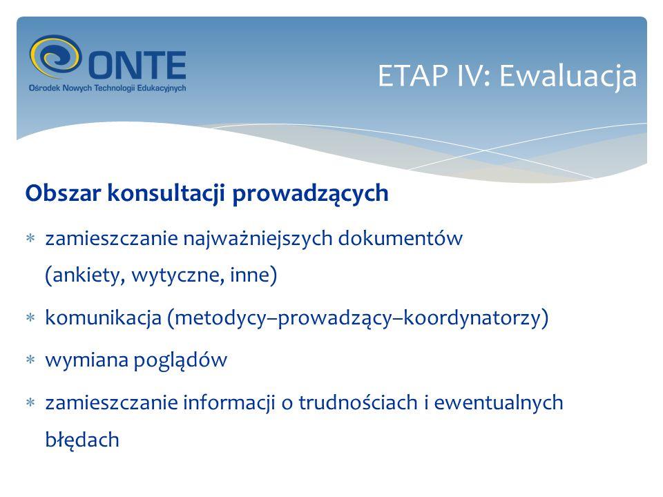 Obszar konsultacji prowadzących zamieszczanie najważniejszych dokumentów (ankiety, wytyczne, inne) komunikacja (metodycy–prowadzący–koordynatorzy) wymiana poglądów zamieszczanie informacji o trudnościach i ewentualnych błędach ETAP IV: Ewaluacja