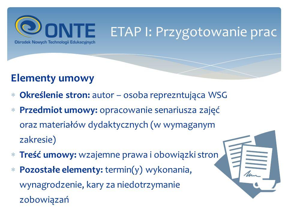 Opracowanie wytycznych metodycznych Należy pamiętać, iż z punktu uzytkownia kurs powinien stanowić jedną całość Informacje dotyczące kursu, polecenia, zasady oceniania powinny być jednolite Układ treści oraz ćwiczone umiejetności, a także ich kolejnosć również powinny być ustalone przed rozpoczęciem prac ETAP I: Przygotowanie prac