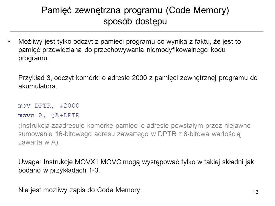 13 Pamięć zewnętrzna programu (Code Memory) sposób dostępu Możliwy jest tylko odczyt z pamięci programu co wynika z faktu, że jest to pamięć przewidzi