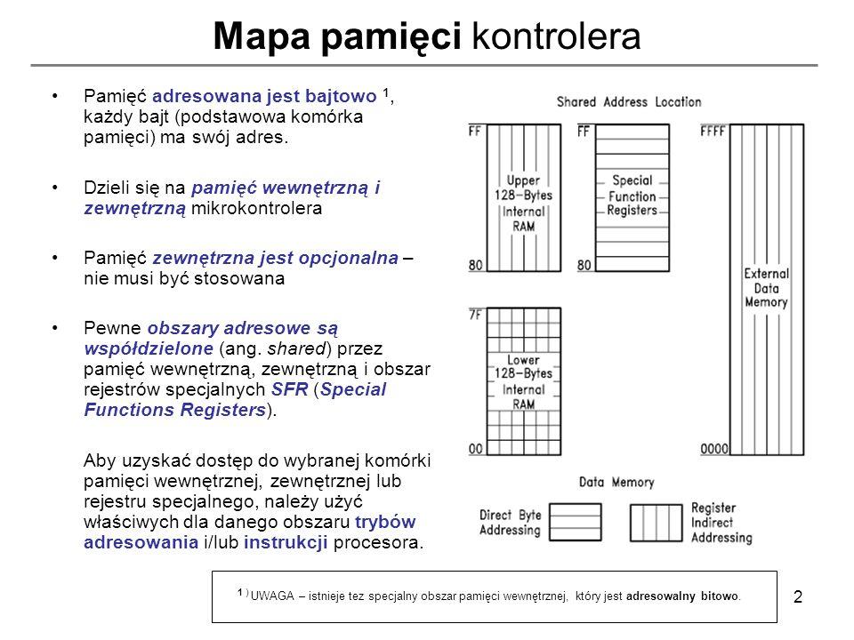 13 Pamięć zewnętrzna programu (Code Memory) sposób dostępu Możliwy jest tylko odczyt z pamięci programu co wynika z faktu, że jest to pamięć przewidziana do przechowywania niemodyfikowalnego kodu programu.