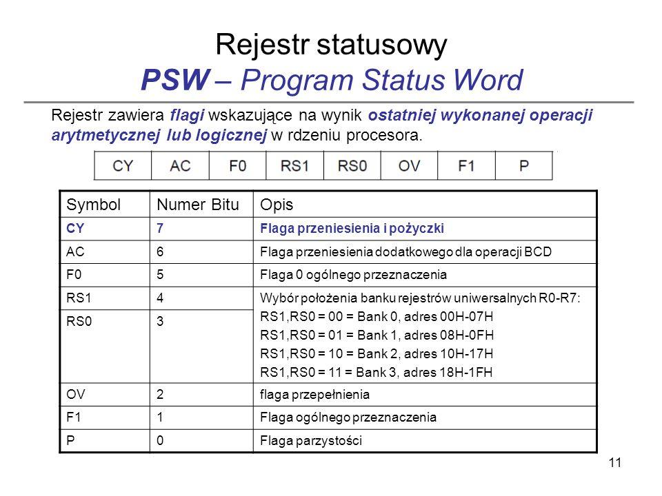 11 Rejestr statusowy PSW – Program Status Word SymbolNumer BituOpis CY7Flaga przeniesienia i pożyczki AC6Flaga przeniesienia dodatkowego dla operacji