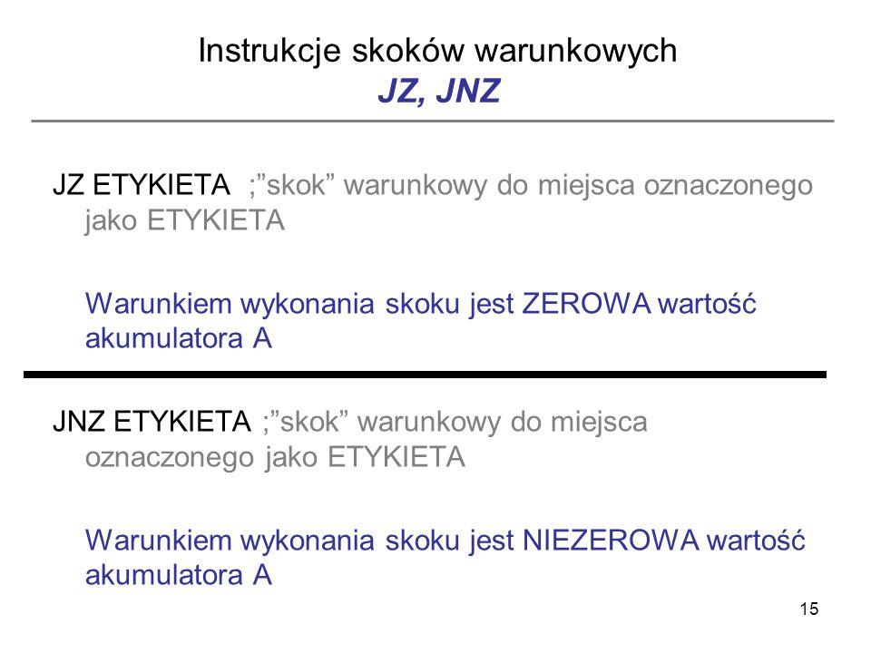 15 Instrukcje skoków warunkowych JZ, JNZ JZ ETYKIETA ;skok warunkowy do miejsca oznaczonego jako ETYKIETA Warunkiem wykonania skoku jest ZEROWA wartoś