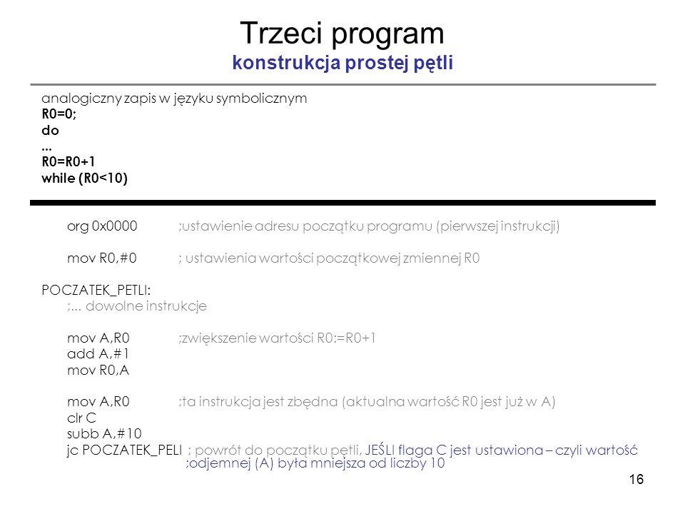 16 Trzeci program konstrukcja prostej pętli analogiczny zapis w języku symbolicznym R0=0; do... R0=R0+1 while (R0<10) org 0x0000;ustawienie adresu poc