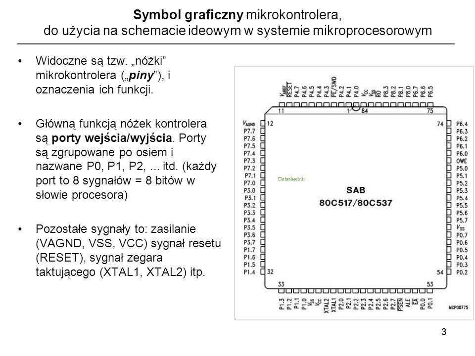 4 Pierwszy program dla systemu wbudowanego z mikrokontrolerem SAB80C537 (Siemens/Infineon) – sterowanie portami wyjściowymi (GPIO) NAME PROGRAM $INCLUDE (REG517.INC); dołączenie pliku definicji rejestrów procesora 80C537 PROGRAM SEGMENT CODE ;definicja segmentu zawierającego kod programu org 0x0000;ustawienie adresu początku programu (pierwszej instrukcji) JMP START RSEG PROGRAM;informacja dla linkera - następne dane to kod programu ;(będzie umieszczony w segmencie pamięci CODE) START : ;… tu zamieszczamy instrukcje, które maja się wykonac jednorazowo po uruchomieniu programu PETLA: ;poczatek petli glownej programu mov P1,#00000000b; wpisanie do wszystkich bitów portu P1 wartości zero ;= ustawienie stanu niskiego na 8 liniach wyjściowych mikrokontrolera mov P1,#00000010b; wpisanie do wszystkich bitów portu P1 wartości binarnej ;= ustawienie stanu niskiego na 7 liniach wyjściowych mikrokontrolera, ;oraz stanu wysokiego na linii P.1 ;(bit numer 1 – bity są numerowane od prawej do lewej: nr bitu = 76543210 jmp PETLA ; instrukcja skoku – zmiana naturalnej kolejności ;wykonywania instrukcji – skok do miejsca oznaczonego ;etykieta tekstową PETLA END poznane instrukcje: MOV, JMP poznane dyrektywy: ORG, SEGMENT CODE, END poznana składnia: struktura projektu, adresowanie natychmiastowe (#) wykorzystanie etykiet, dołączanie plików nagłówkowych ($include)