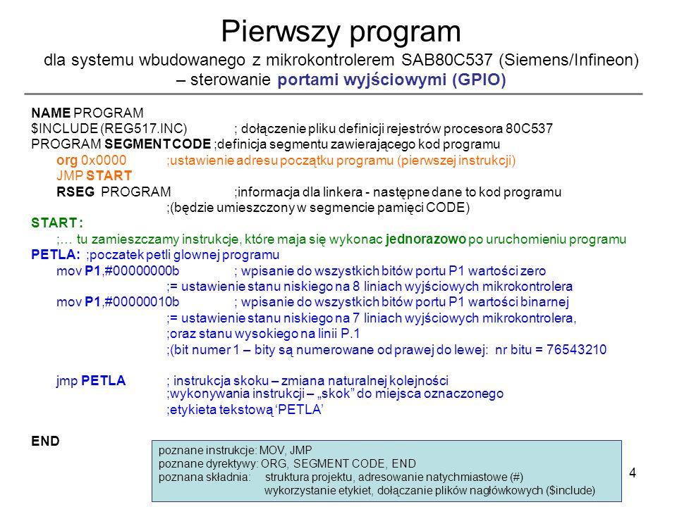 4 Pierwszy program dla systemu wbudowanego z mikrokontrolerem SAB80C537 (Siemens/Infineon) – sterowanie portami wyjściowymi (GPIO) NAME PROGRAM $INCLU