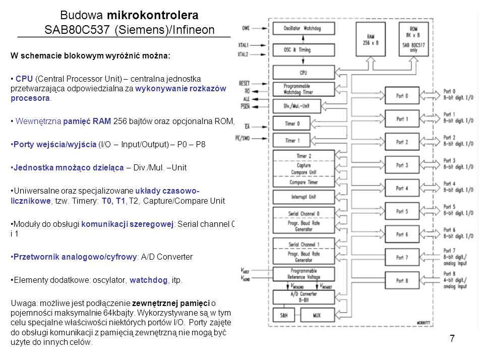 7 Budowa mikrokontrolera SAB80C537 (Siemens)/Infineon W schemacie blokowym wyróżnić można: CPU (Central Processor Unit) – centralna jednostka przetwar