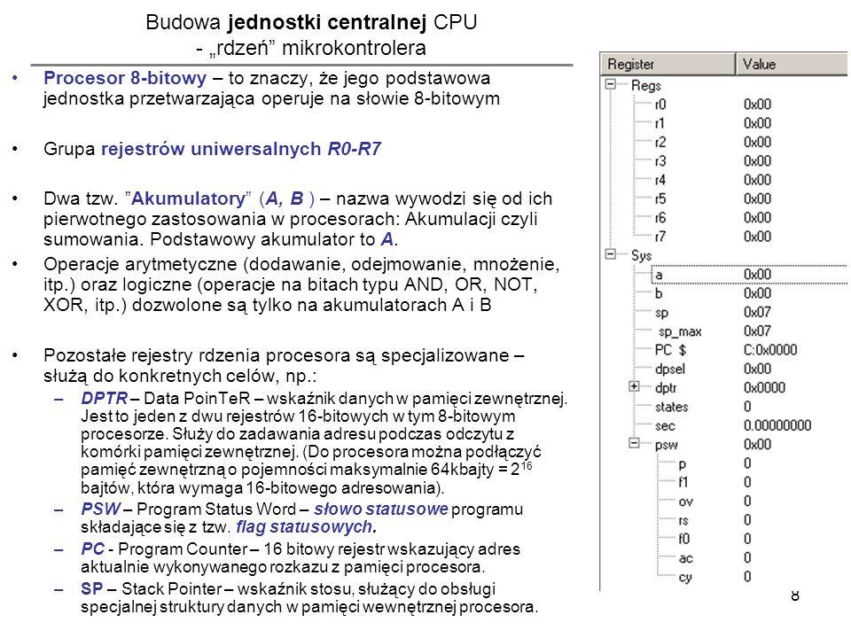 9 Podstawowe instrukcje rdzenia procesora oraz wybrane tryby adresowania MOV przykłady użycia: tryb adresowania rejestrowy: MOV A,B ;kopiowanie wartości z rejestru B do rejestru A (kierunek operacji dwu- argumentowych zawsze z prawej na lewą) MOV A, R0 ; kopiowanie wartości z rejestru R0 do A MOV R0, A ; kopiowanie wartości z rejestru A do R0 tryb adresowania natychmiastowy: MOV A,#10 ;kopiowanie stałej wartości dziesiętnej (podanej natychmiastowo) do rejestru A MOV A,#0Ah ;j.w.
