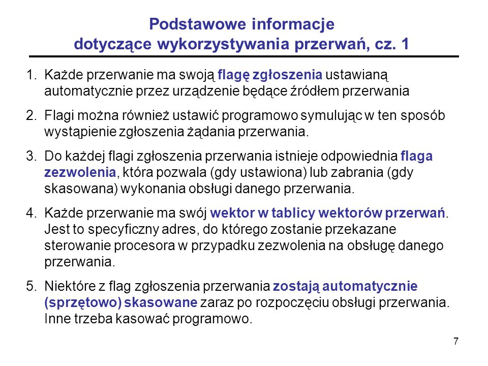 8 Podstawowe informacje dotyczące wykorzystywania przerwań, cz.