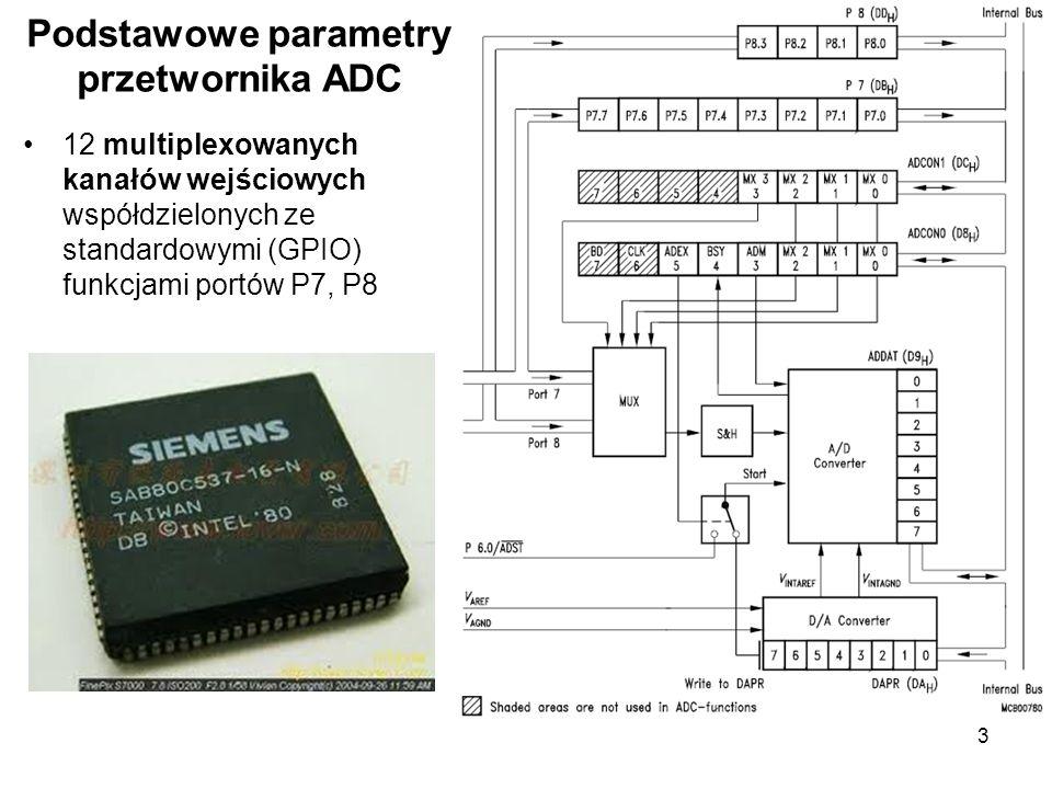 3 12 multiplexowanych kanałów wejściowych współdzielonych ze standardowymi (GPIO) funkcjami portów P7, P8 Podstawowe parametry przetwornika ADC