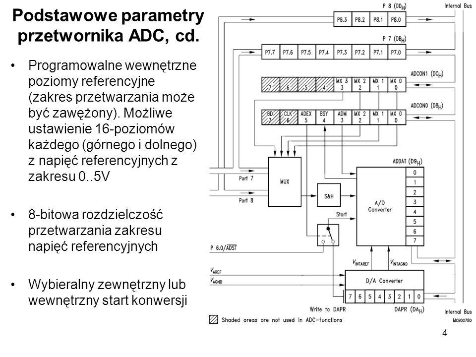 4 Podstawowe parametry przetwornika ADC, cd. Programowalne wewnętrzne poziomy referencyjne (zakres przetwarzania może być zawężony). Możliwe ustawieni