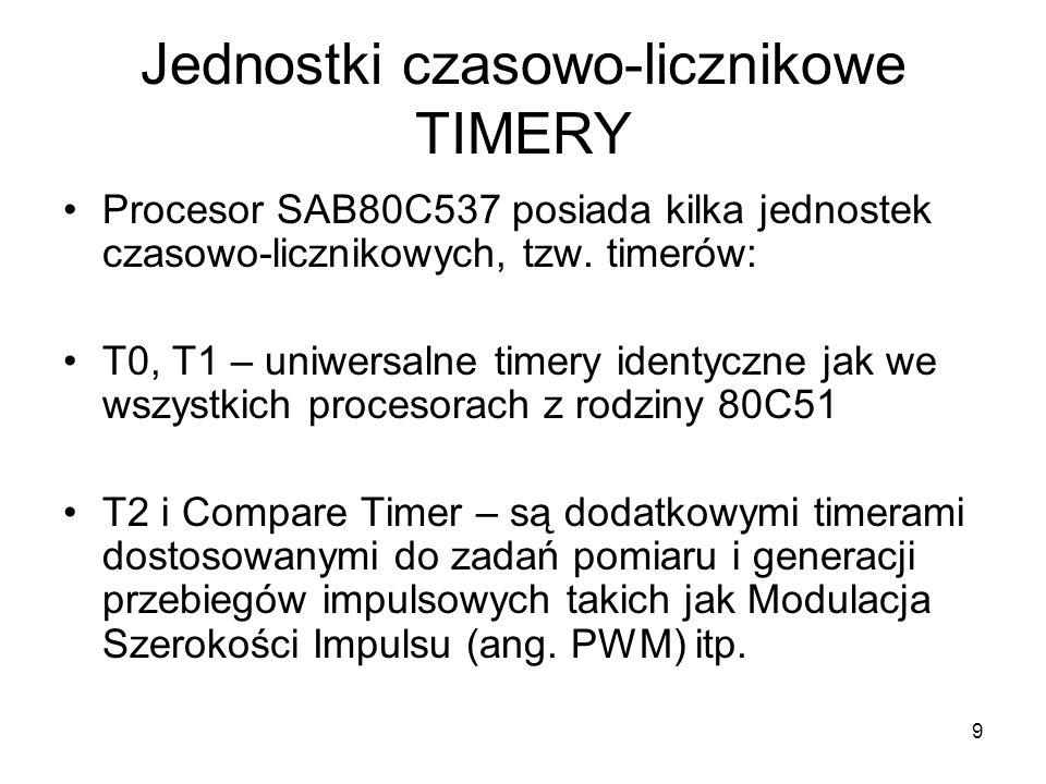 9 Jednostki czasowo-licznikowe TIMERY Procesor SAB80C537 posiada kilka jednostek czasowo-licznikowych, tzw. timerów: T0, T1 – uniwersalne timery ident