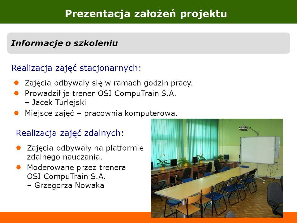 Prezentacja założeń projektu Informacje o szkoleniu Realizacja zajęć stacjonarnych: Zajęcia odbywały się w ramach godzin pracy. Prowadził je trener OS