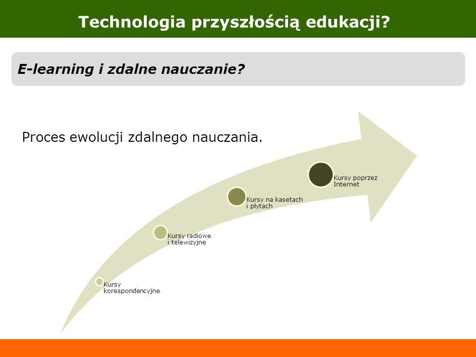 Technologia przyszłością edukacji? E-learning i zdalne nauczanie? Proces ewolucji zdalnego nauczania. Kursy korespondencyjne Kursy radiowe i telewizyj
