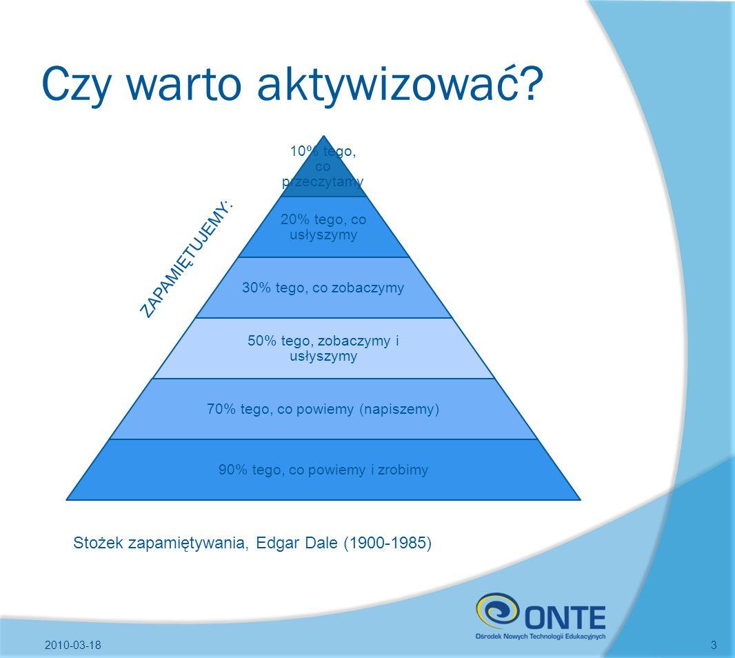 Czy warto aktywizować? 2010-03-183 10% tego, co przeczytamy 20% tego, co usłyszymy 30% tego, co zobaczymy 50% tego, zobaczymy i usłyszymy 70% tego, co