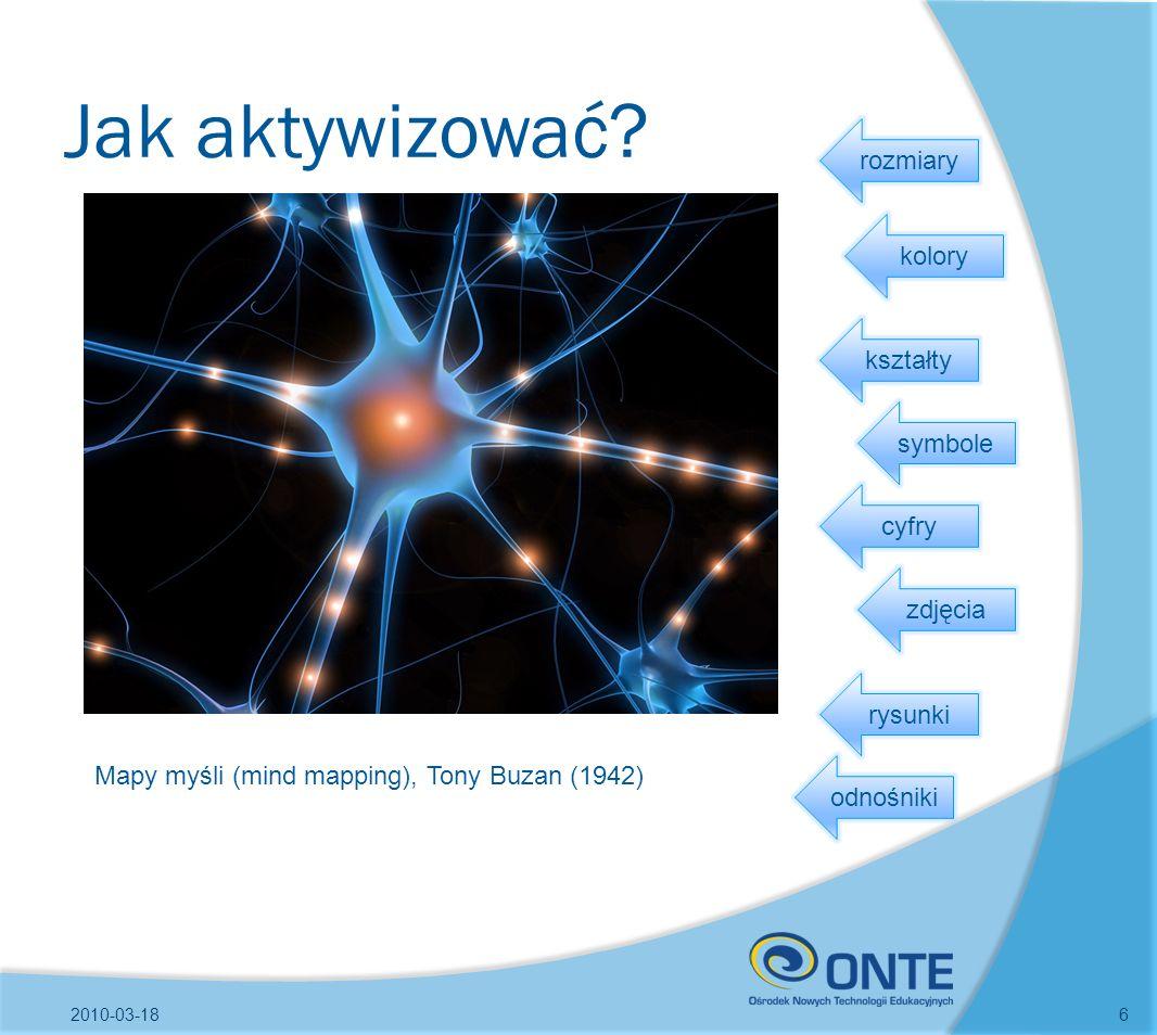 Jak aktywizować? 2010-03-186 Mapy myśli (mind mapping), Tony Buzan (1942) cyfry kształty symbole zdjęcia kolory rysunki rozmiary odnośniki