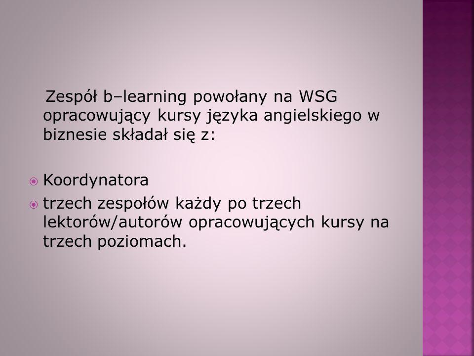 Zespół b–learning powołany na WSG opracowujący kursy języka angielskiego w biznesie składał się z: Koordynatora trzech zespołów każdy po trzech lektor