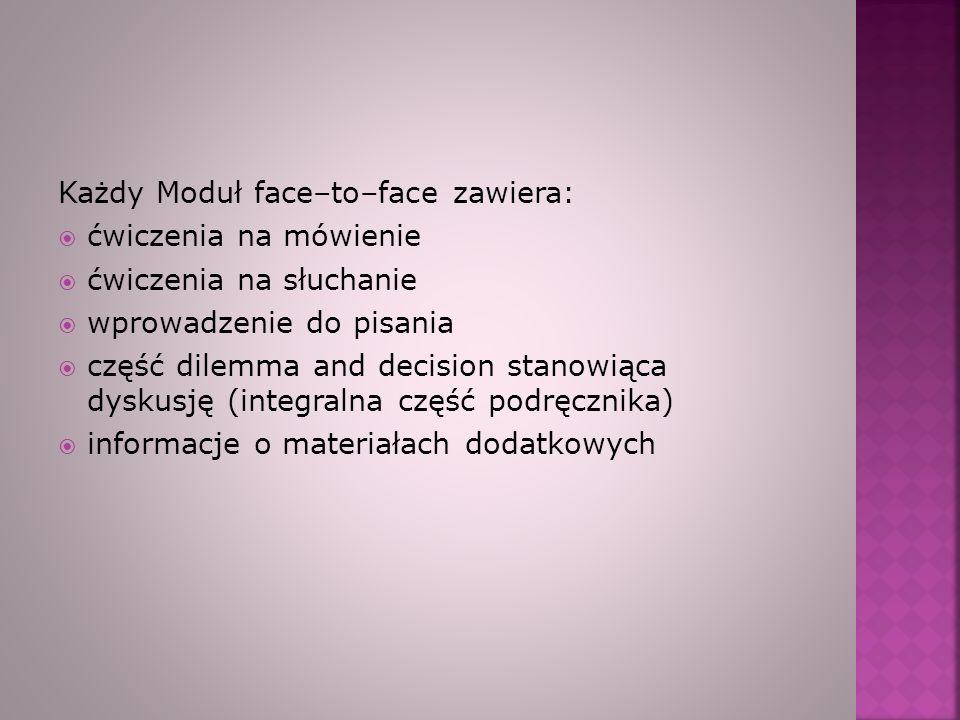 Każdy Moduł face–to–face zawiera: ćwiczenia na mówienie ćwiczenia na słuchanie wprowadzenie do pisania część dilemma and decision stanowiąca dyskusję