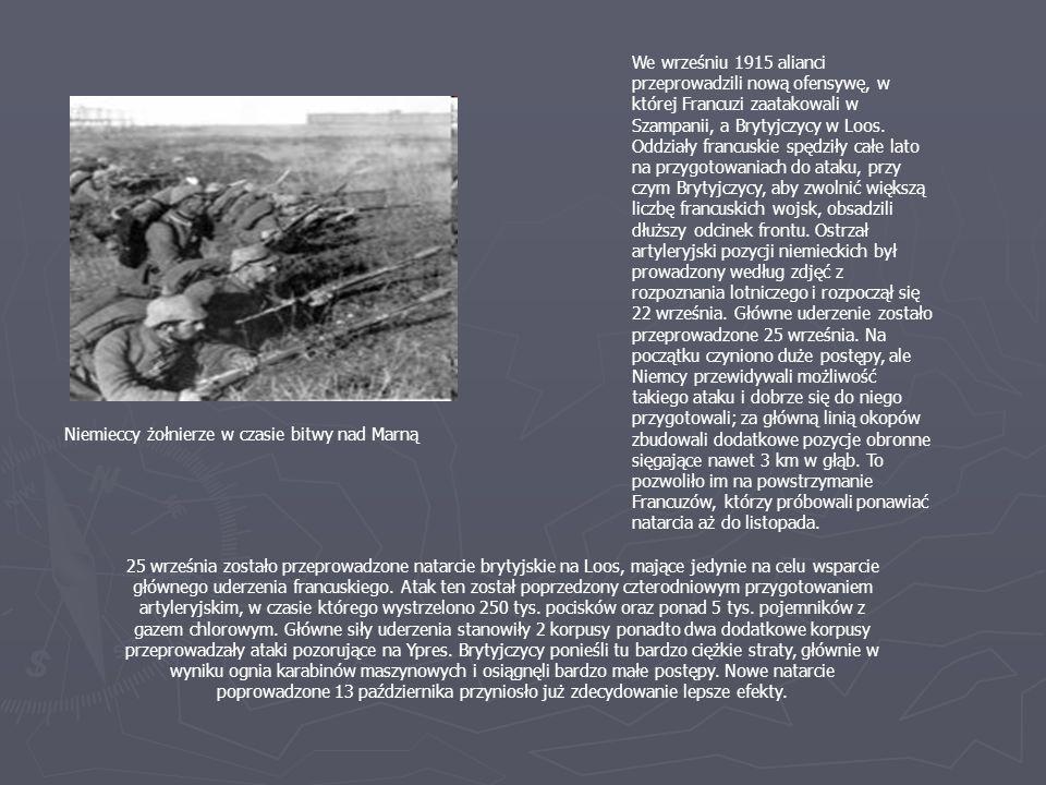 25 września zostało przeprowadzone natarcie brytyjskie na Loos, mające jedynie na celu wsparcie głównego uderzenia francuskiego. Atak ten został poprz