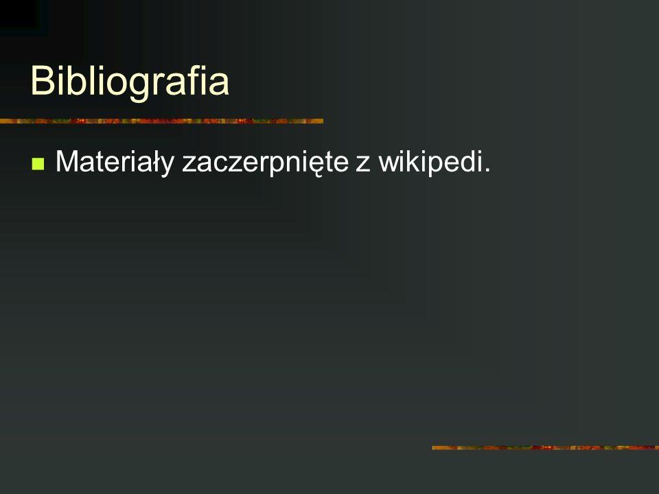 Bibliografia Materiały zaczerpnięte z wikipedi.