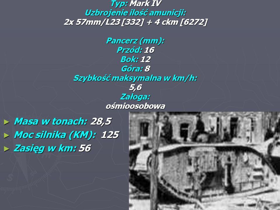 Typ: Mark IV Uzbrojenie ilość amunicji: 2x 57mm/L23 [332] + 4 ckm [6272] Pancerz (mm): Przód: 16 Bok: 12 Góra: 8 Szybkość maksymalna w km/h: 5,6 Załoga: ośmioosobowa Masa w tonach: 28,5 Masa w tonach: 28,5 Moc silnika (KM): 125 Moc silnika (KM): 125 Zasięg w km: 56 Zasięg w km: 56