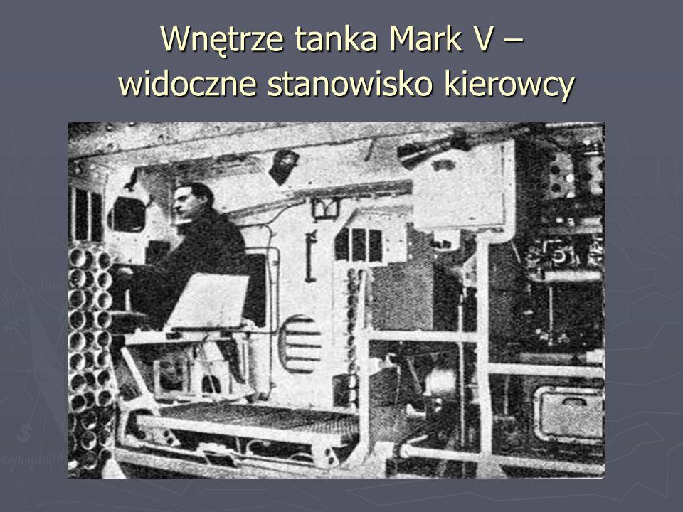 Wnętrze tanka Mark V – widoczne stanowisko kierowcy