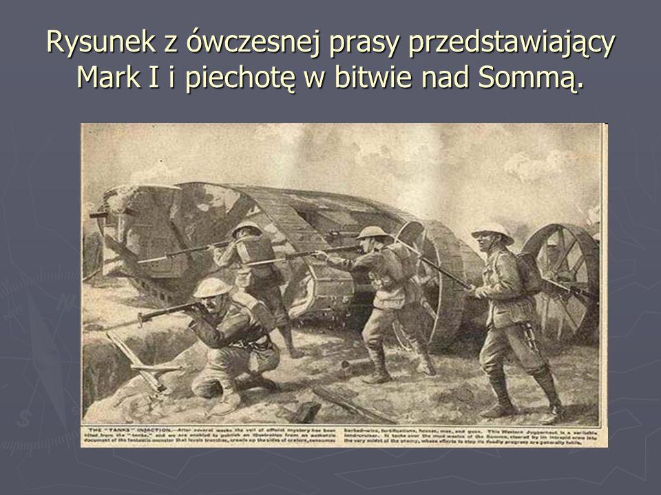 Rysunek z ówczesnej prasy przedstawiający Mark I i piechotę w bitwie nad Sommą.