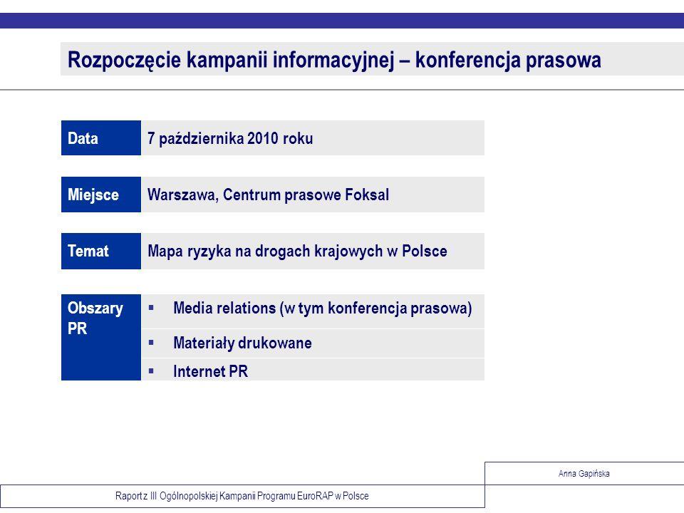 Raport z III Ogólnopolskiej Kampanii Programu EuroRAP w Polsce Anna Gapińska Folder – Atlas ryzyka Prezentacja map ryzyka, danych statystycznych wraz z bogatym komentarzem 24 strony