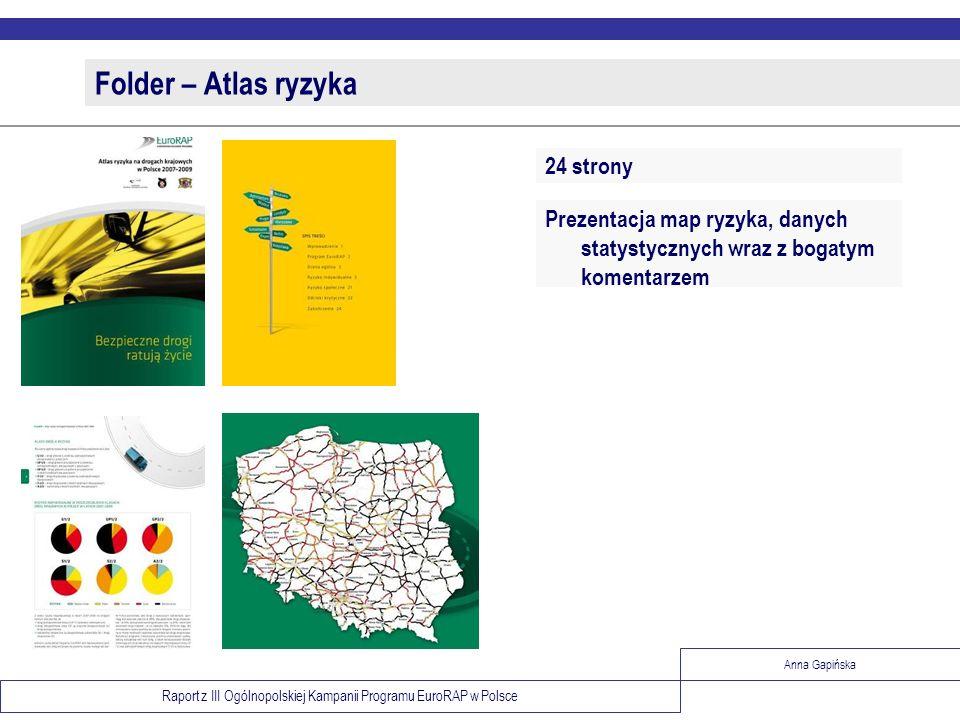 Raport z III Ogólnopolskiej Kampanii Programu EuroRAP w Polsce Anna Gapińska Folder – Atlas ryzyka Prezentacja map ryzyka, danych statystycznych wraz