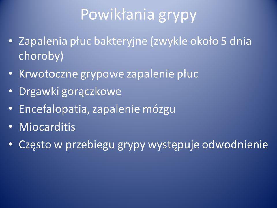 Powikłania grypy Zapalenia płuc bakteryjne (zwykle około 5 dnia choroby) Krwotoczne grypowe zapalenie płuc Drgawki gorączkowe Encefalopatia, zapalenie