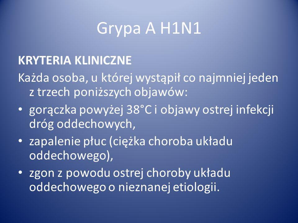 Grypa A H1N1 KRYTERIA KLINICZNE Każda osoba, u której wystąpił co najmniej jeden z trzech poniższych objawów: gorączka powyżej 38°C i objawy ostrej in