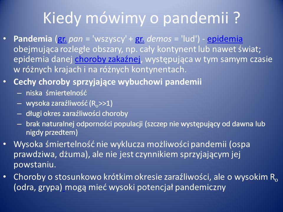 Kiedy mówimy o pandemii ? Pandemia (gr. pan = 'wszyscy' + gr. demos = 'lud') - epidemia obejmująca rozległe obszary, np. cały kontynent lub nawet świa